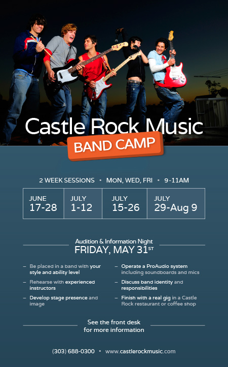 Castle Rock Music - BAND CAMP 2013. 2 Week Sessions • Mon, Wed, Fri • 9-11am