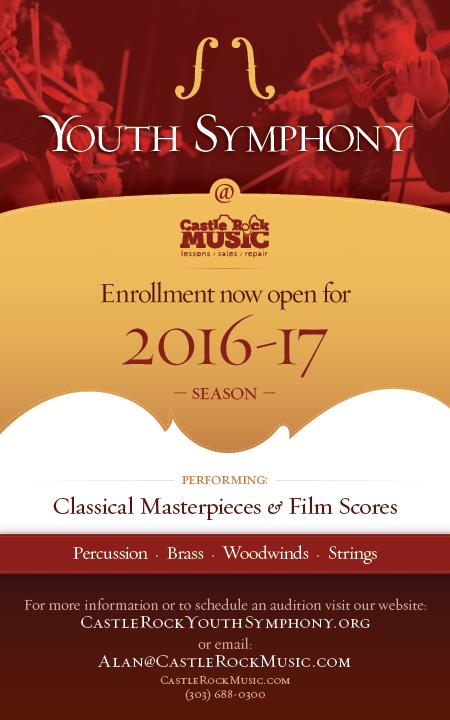 Youth Symphony at Castle Rock Music  |  Enrollment NOW OPEN for 2016-17 Season  |  Performing: Classical Masterpieces  •  Film Scores  |  To Enroll Contact Alan: alan@castlerockmusic.com