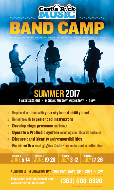 Band Camp (Summer 2016)  |  2 Week Sessions  |  Monday, Wednesday, Friday  |  9-11am - Audition & Information Day: Sunday, May 21st, 2017 @ 2pm