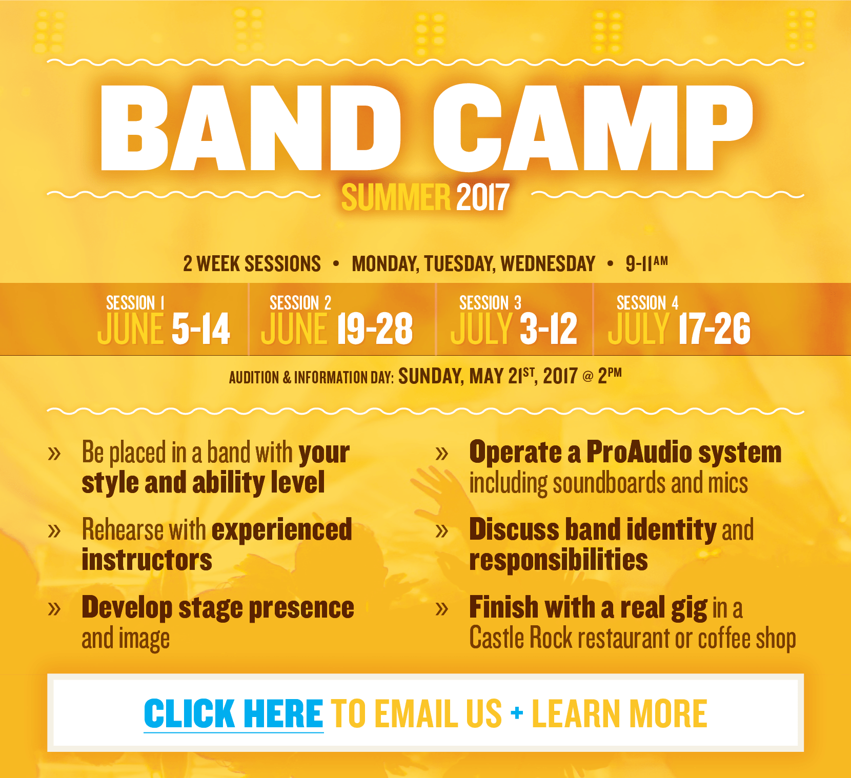 Band Camp (Summer 2017)  |  2 Week Sessions  |  Monday, Wednesday, Friday  |  9-11am - Audition & Information Day: Sunday, May 21st, 2017 @ 2pm