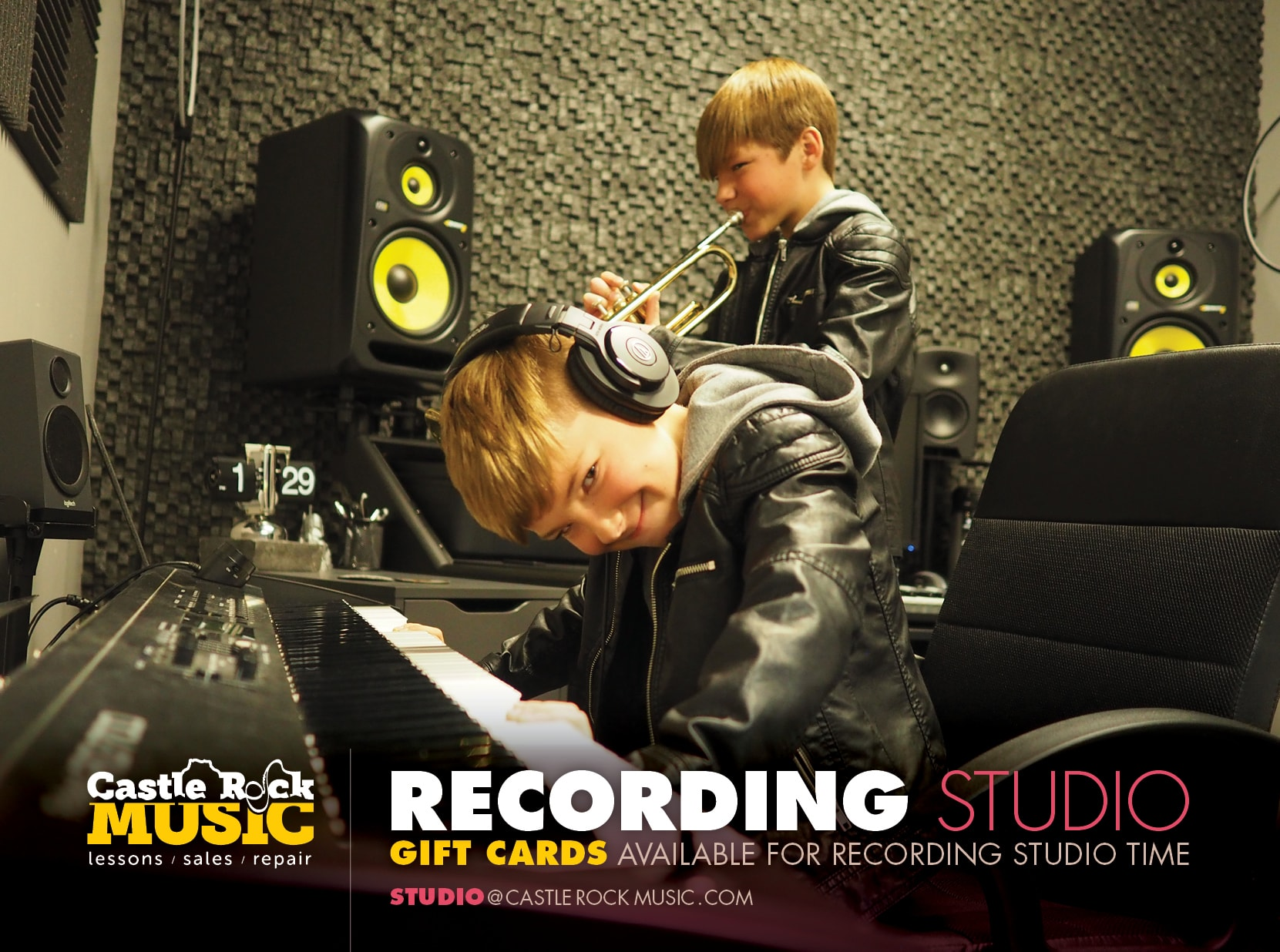 Recording Studio at Castle Rock Music -- Gift Cards available for recording studio time -- Email us at studio@castlerockmusic.com
