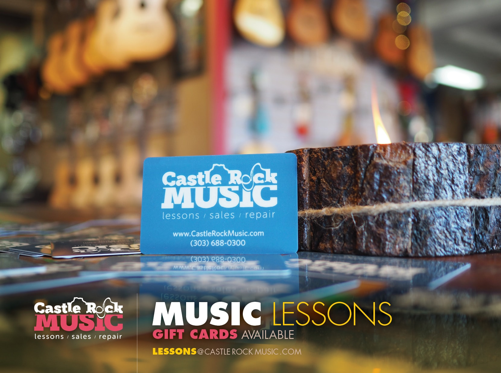 Gift Cards for Music Lessons at Castle Rock Music -- Email us at lessons@castlerockmusic.com