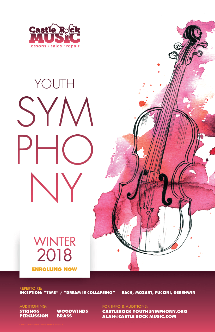 "Youth Symphony at Castle Rock Music  |  Enrollment now open for Winter 2018  |  Repertoire: Inception: ""Time"" / ""Dream Is Collapsing"", Bach, Mozart, Piccini, Gershwin 