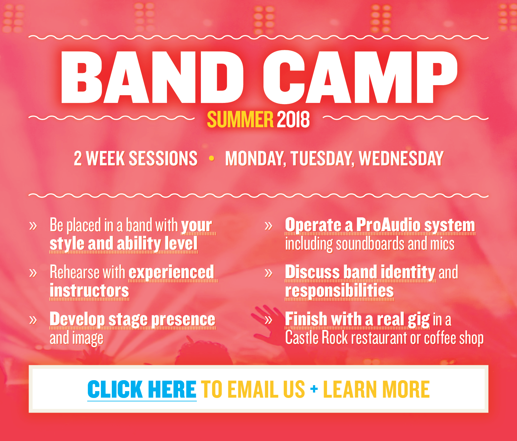 Band Camp (Summer 2018)  |  2 Week Sessions  |  Monday, Tuesday, Wednesday